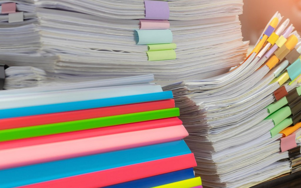 Piles of papers for office work