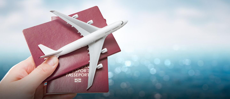 طائرة وجواز سفر