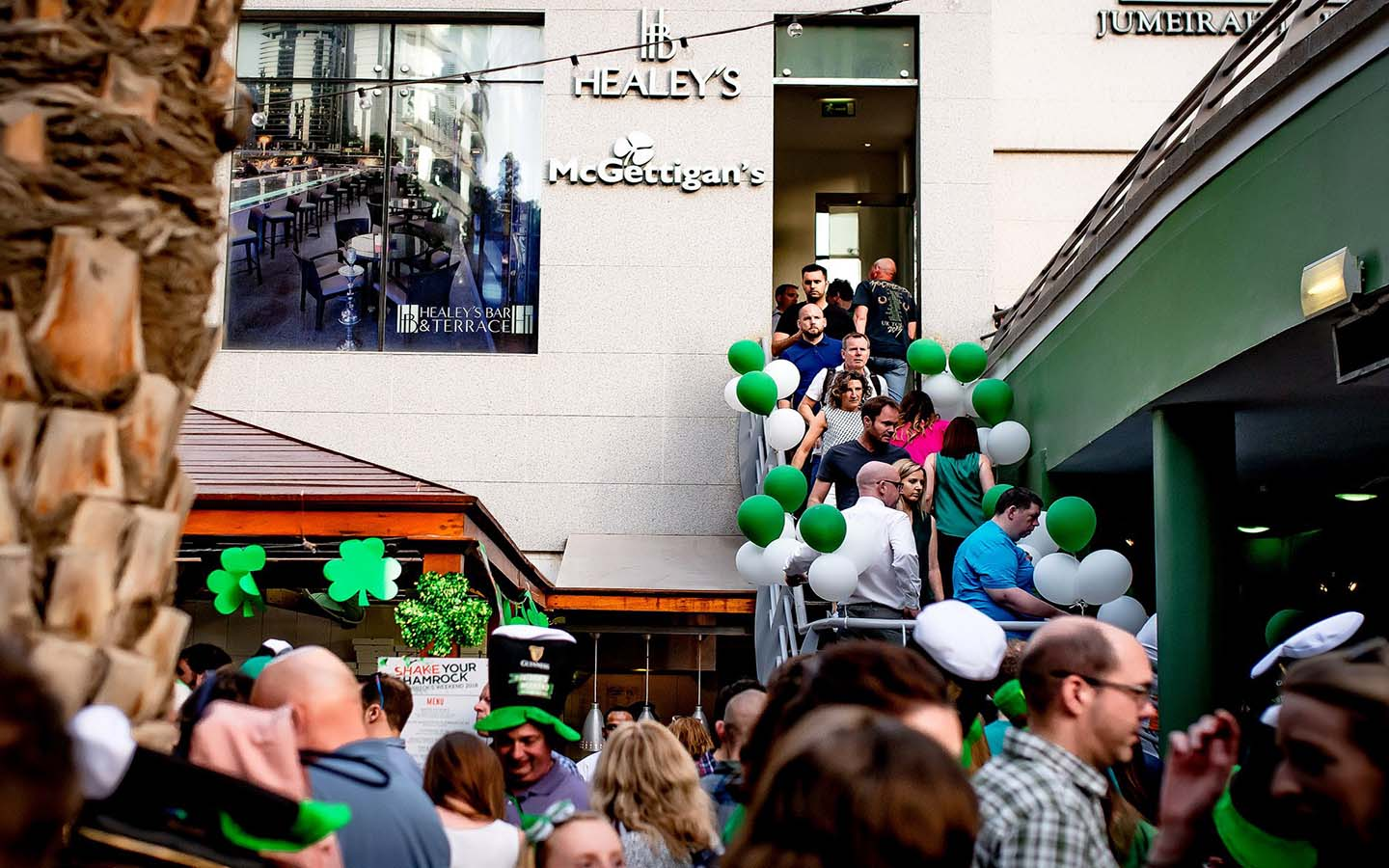 Entrance to McGettigan's JLT during St Patrick's Day in Dubai celebrations