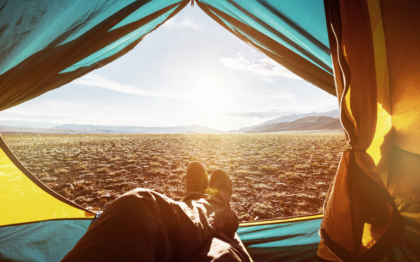setting up a tent in a desert in the UAE