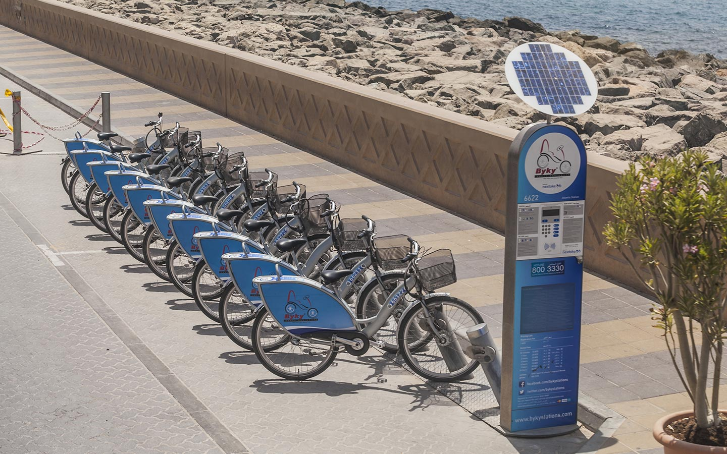 The byky bike rental station on Palm Jumeirah