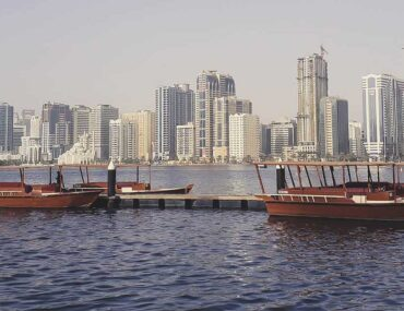 Apartment buildings in Sharjah waterfront, United Arab Emirates