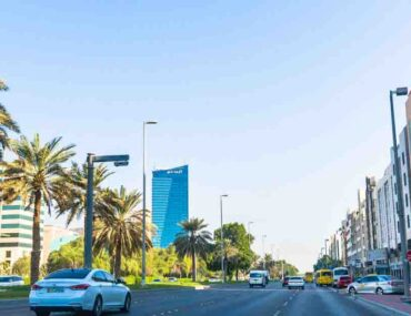 Street in Abu Dhabi with apartment buildings, united arab emirates