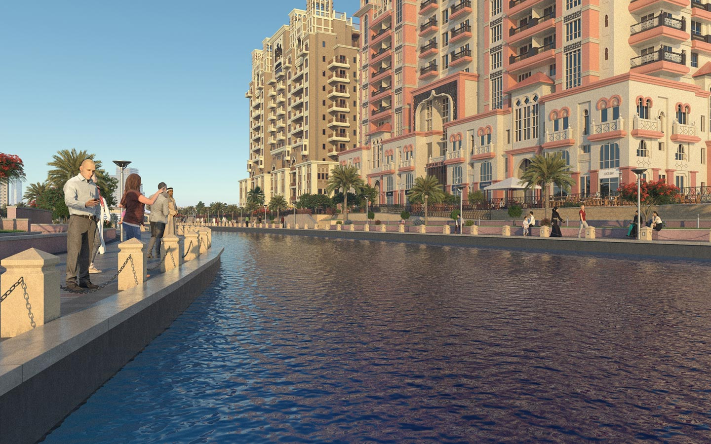 A view of Canal Residence West In Dubai Sports City