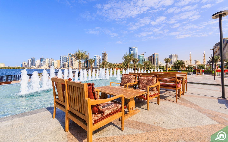 Fountain and seating at at Al Majaz Waterfront