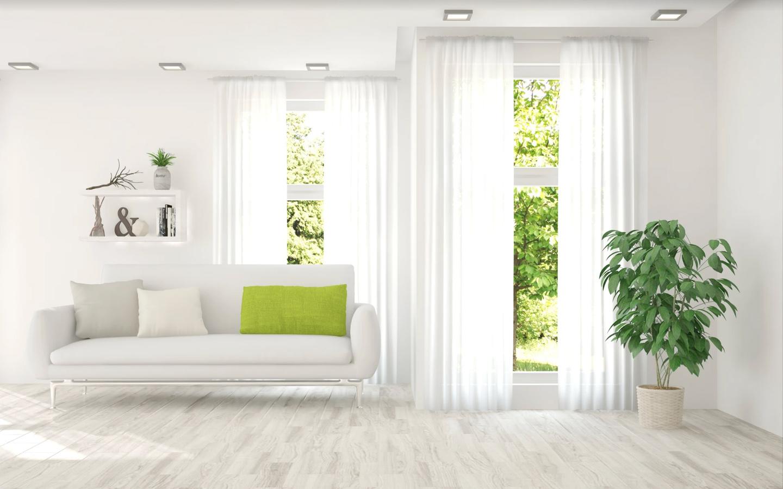 ننصح بإختيار مدات أرضية وستائر ذات الألوان الفاتحة والخفيفة