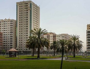 Park in Sharjah with building in the background