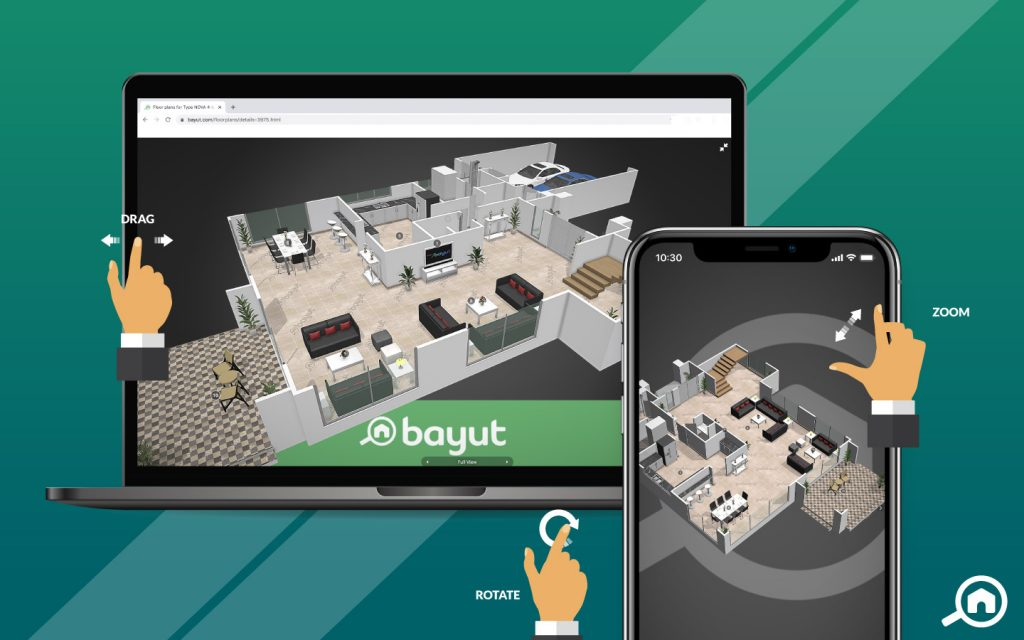 3D House Plans on Bayut with arrows showing the drag, rotate and zoom functions