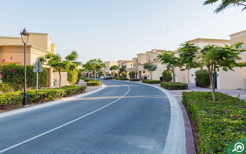 Street view of Saheel villas in Arabian Ranches