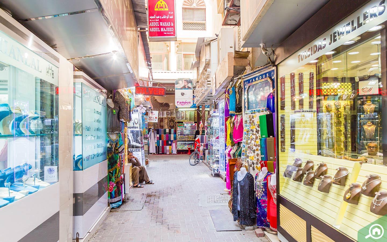 Shops in Deira souk in Dubai