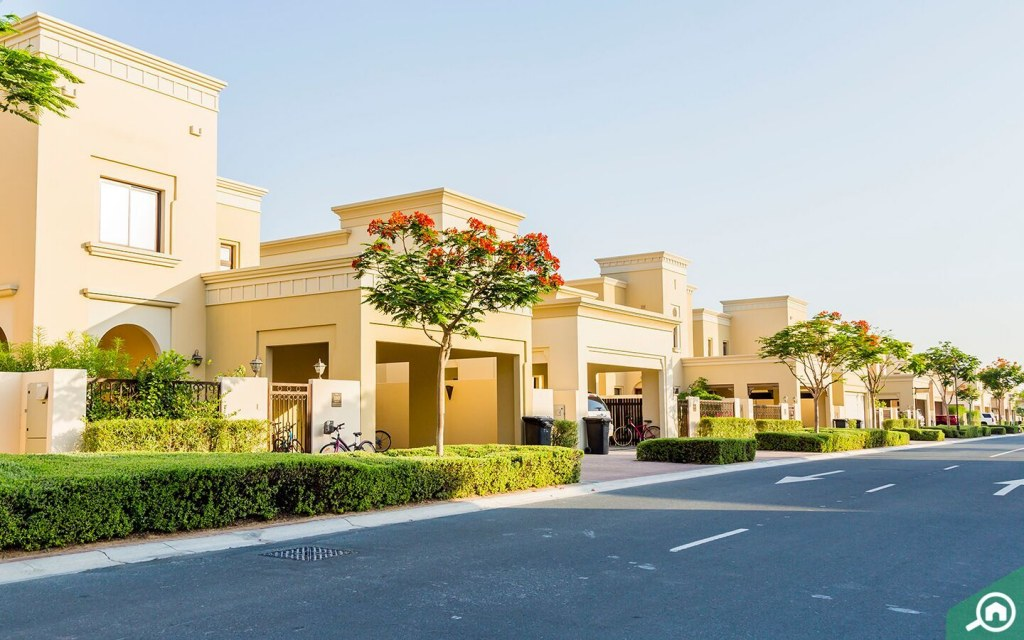 Street view of Al Reem villas with landscaping