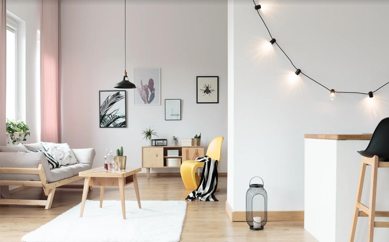 Use lamps, chandeliers, tube lights and bulbs to create mood lighting