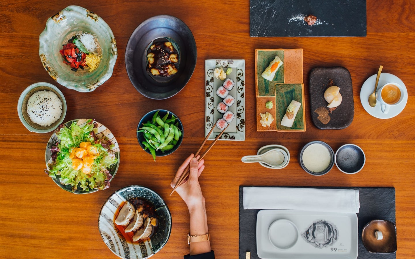 Japanese dishes served at 99 sushi bar, which has one of the best suhoor in Abu Dhabi