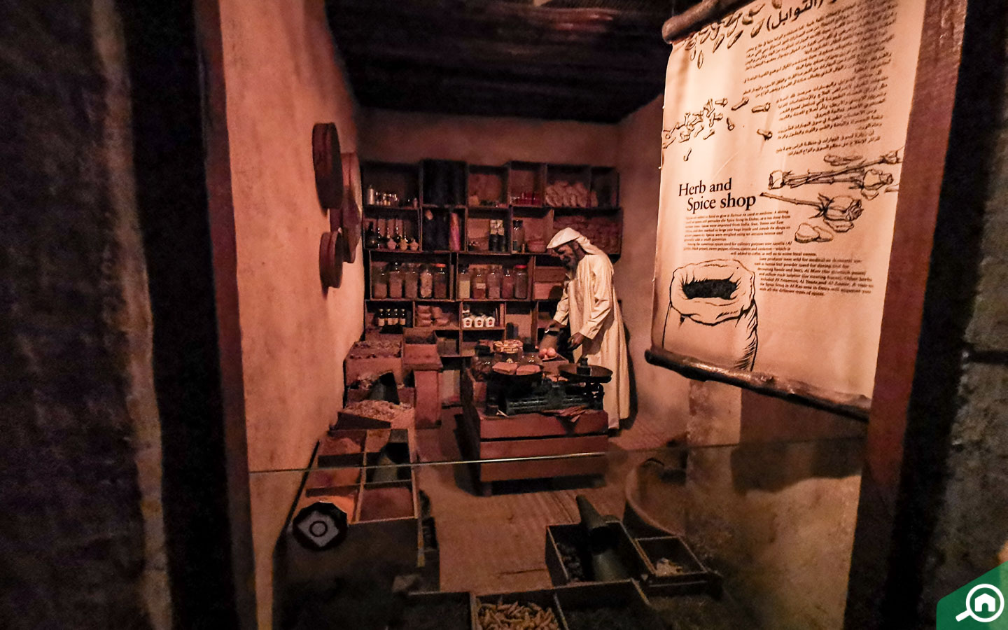 A display depicting an old shop in Dubai's market