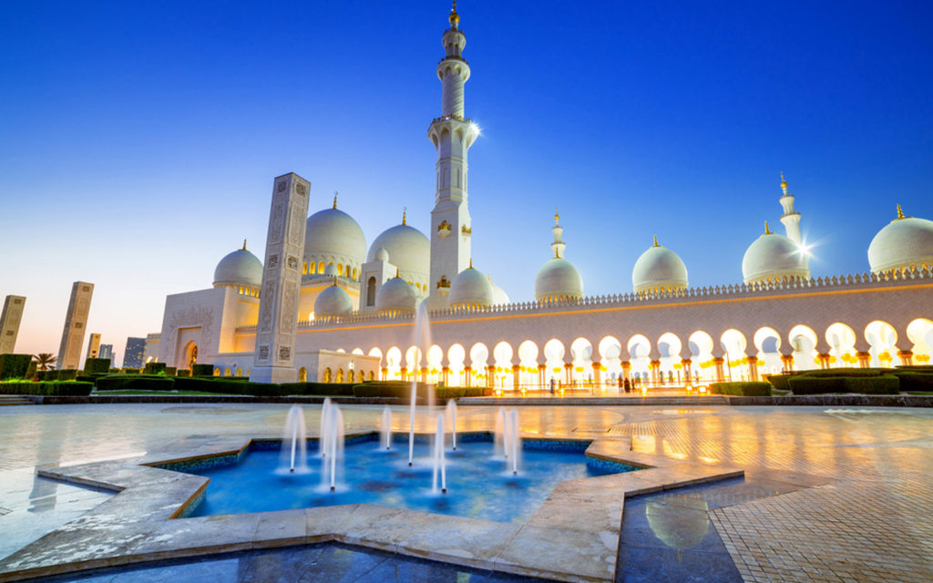 A view of Sheikh Zayed Mosque from its courtyard
