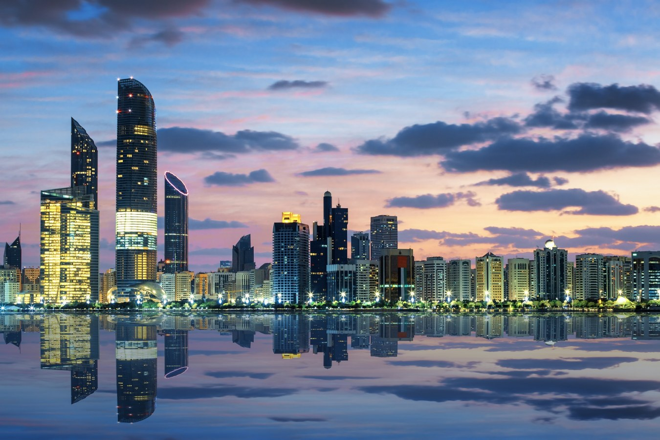 Abu Dhabi skyline with apartment complexes and skyscrapers