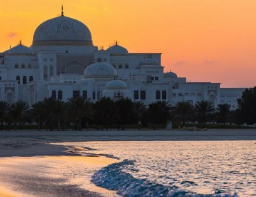 Abu Dhabi Presidential Palace seen from the coast.