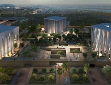 View of the upcoming Abrahamic House of Fraternity in Abu Dhabi