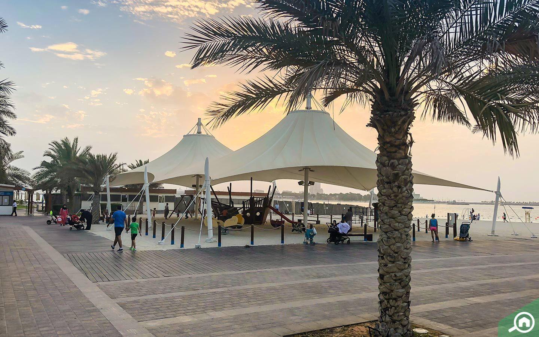 Abu Dhabi Corniche at sunset