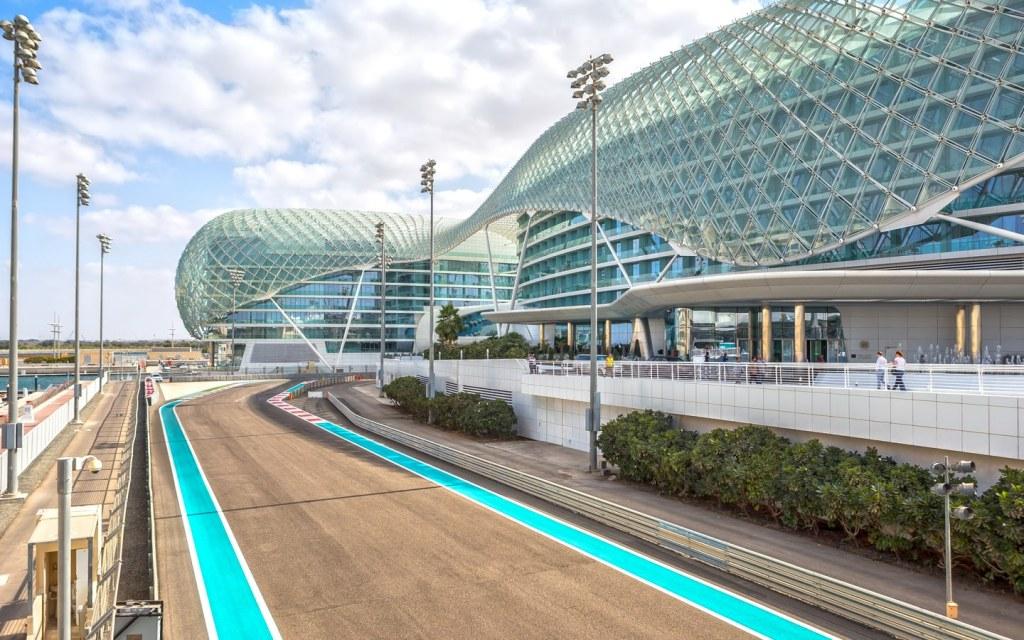 View of Yas Marina Circuit and Yas Hotel Abu Dhabi