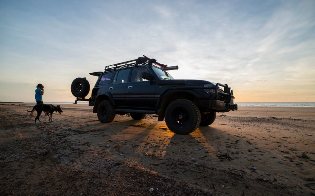 A jeep in a desert