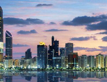 Abu Dhabi skyline in the evening