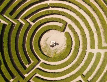 Aerial View of a Maze in a City