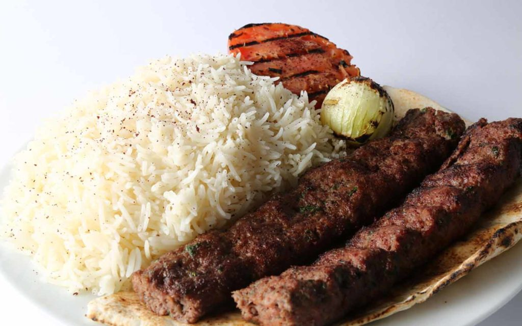 Cholo Kabab with white rice