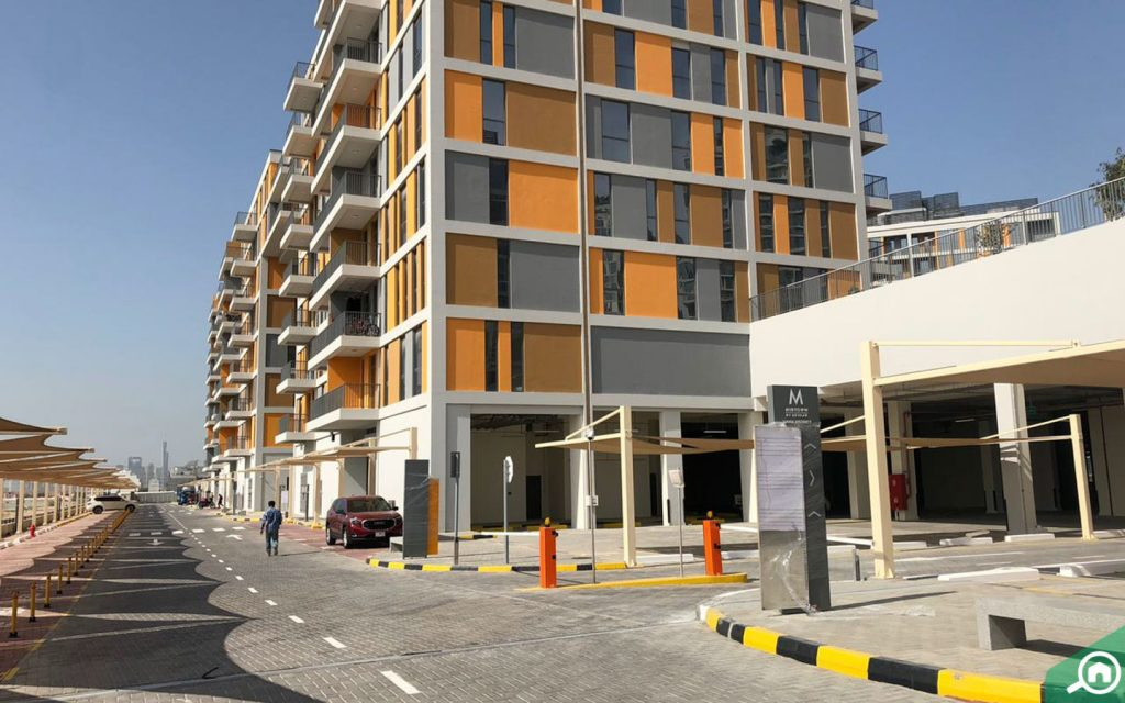 Street view of Afnan buildings, which is one of the new Dubai residential projects