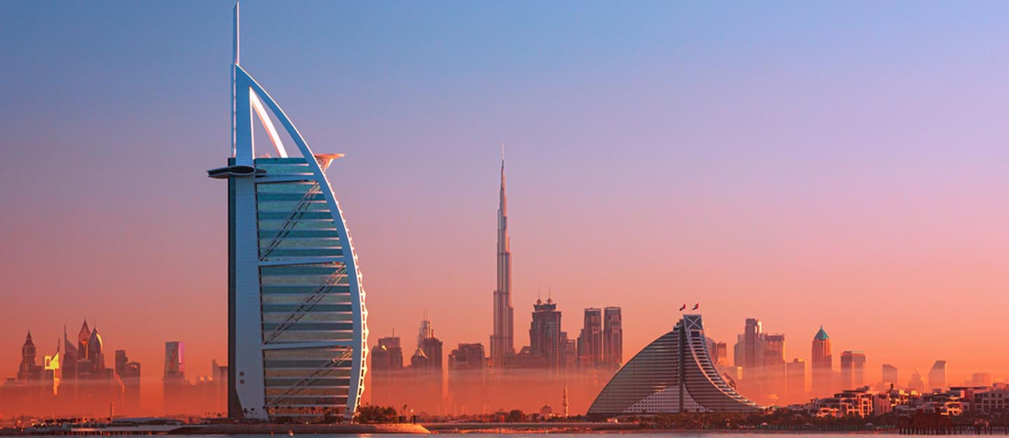 Dubai skyline with Burj Al Arab and Burj Khalifa