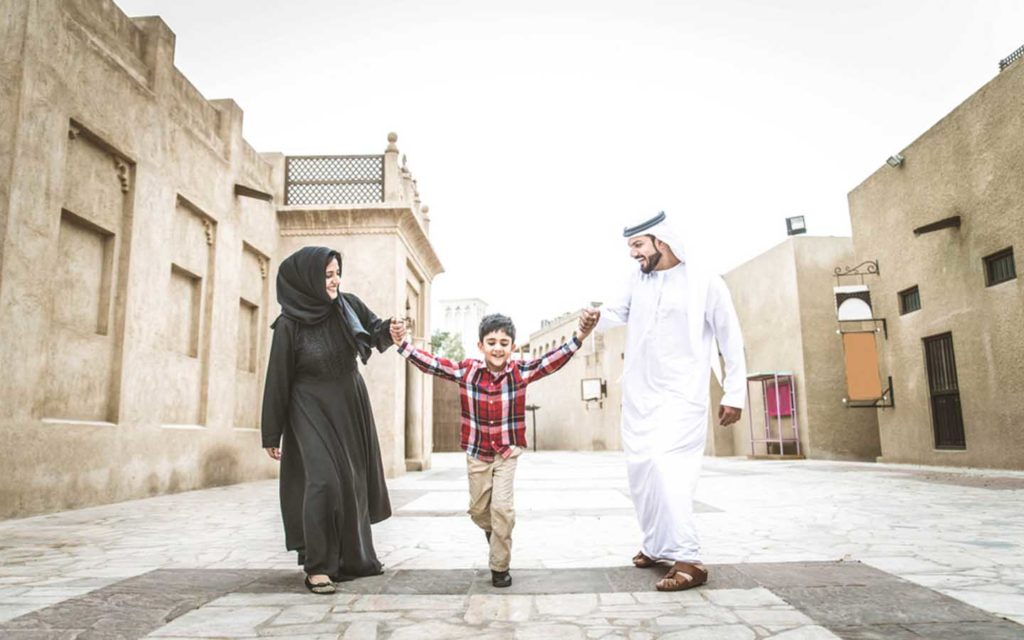An Arab family in traditional attire