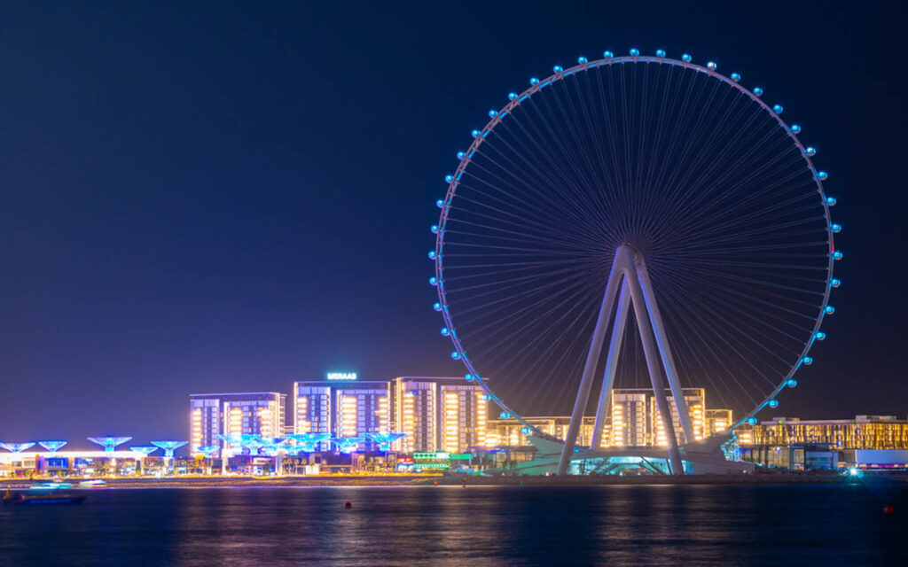 Ain Dubai Wheel lit up at night