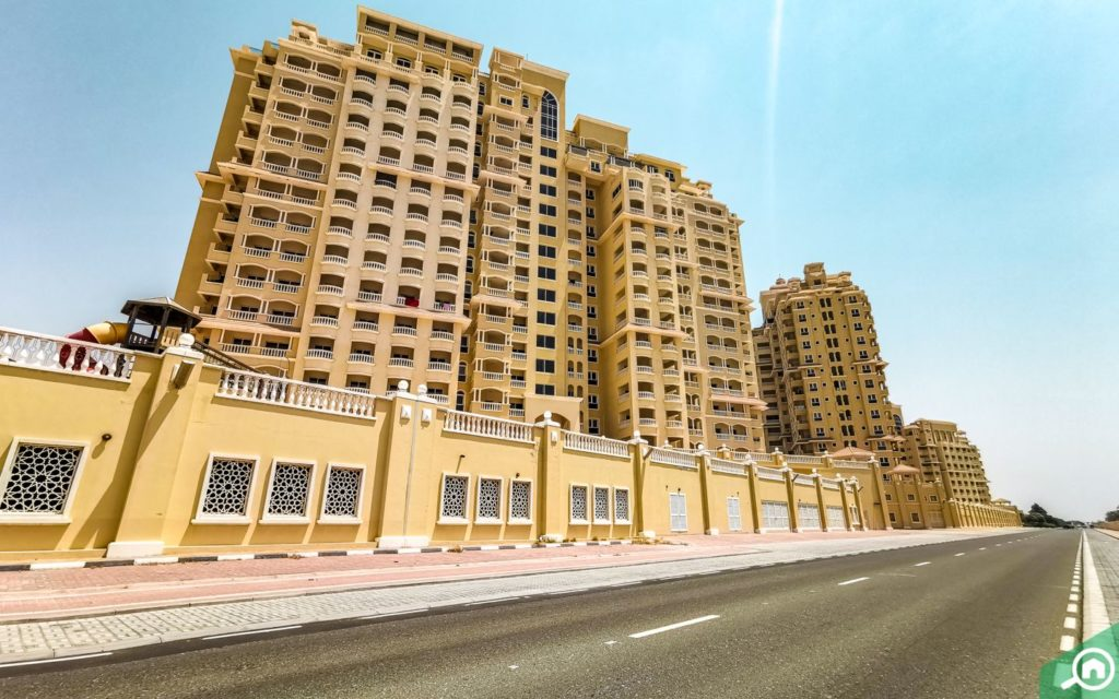 View of apartment buildings in Al Hamra Village