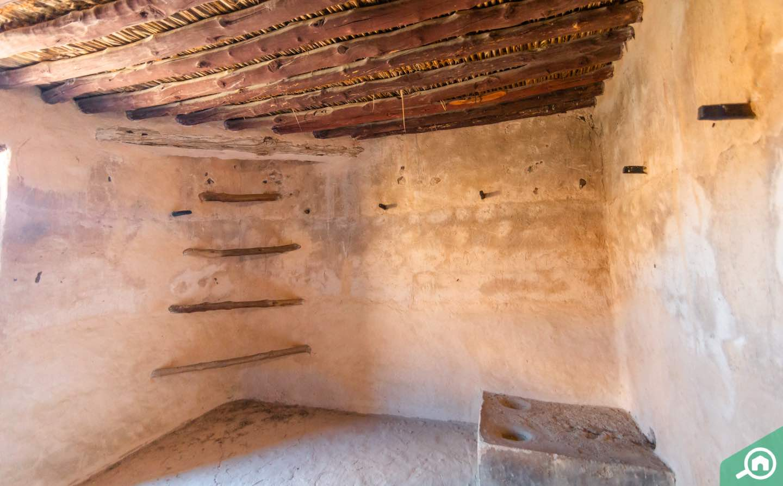 Inside Al Hayl Fort Fujairah, view of wooden rungs