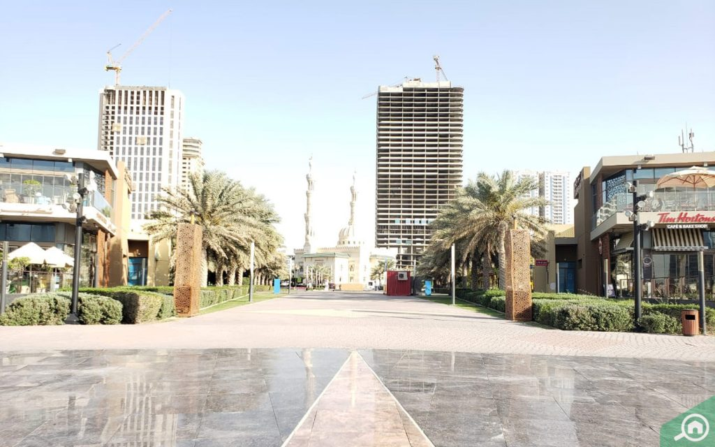 Al Majaz Park image with Tim Horton and Al Taqwa Mosque visible