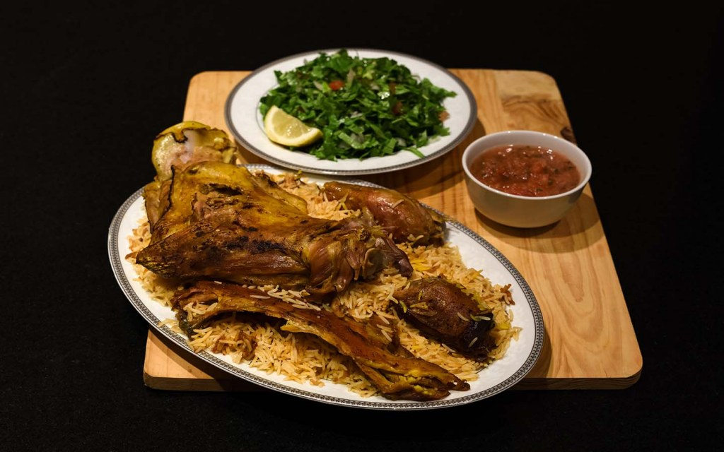 Rice biryani and lamb - a traditional Arab dish