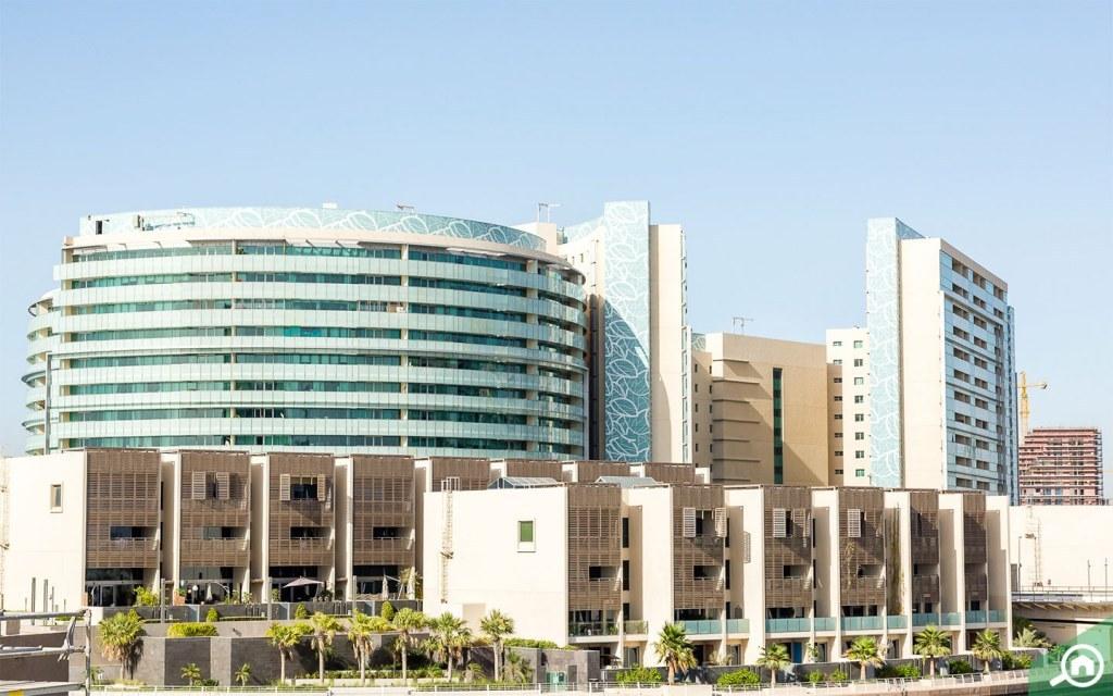 View of buildings in Al Muneera community in Al Raha Beach