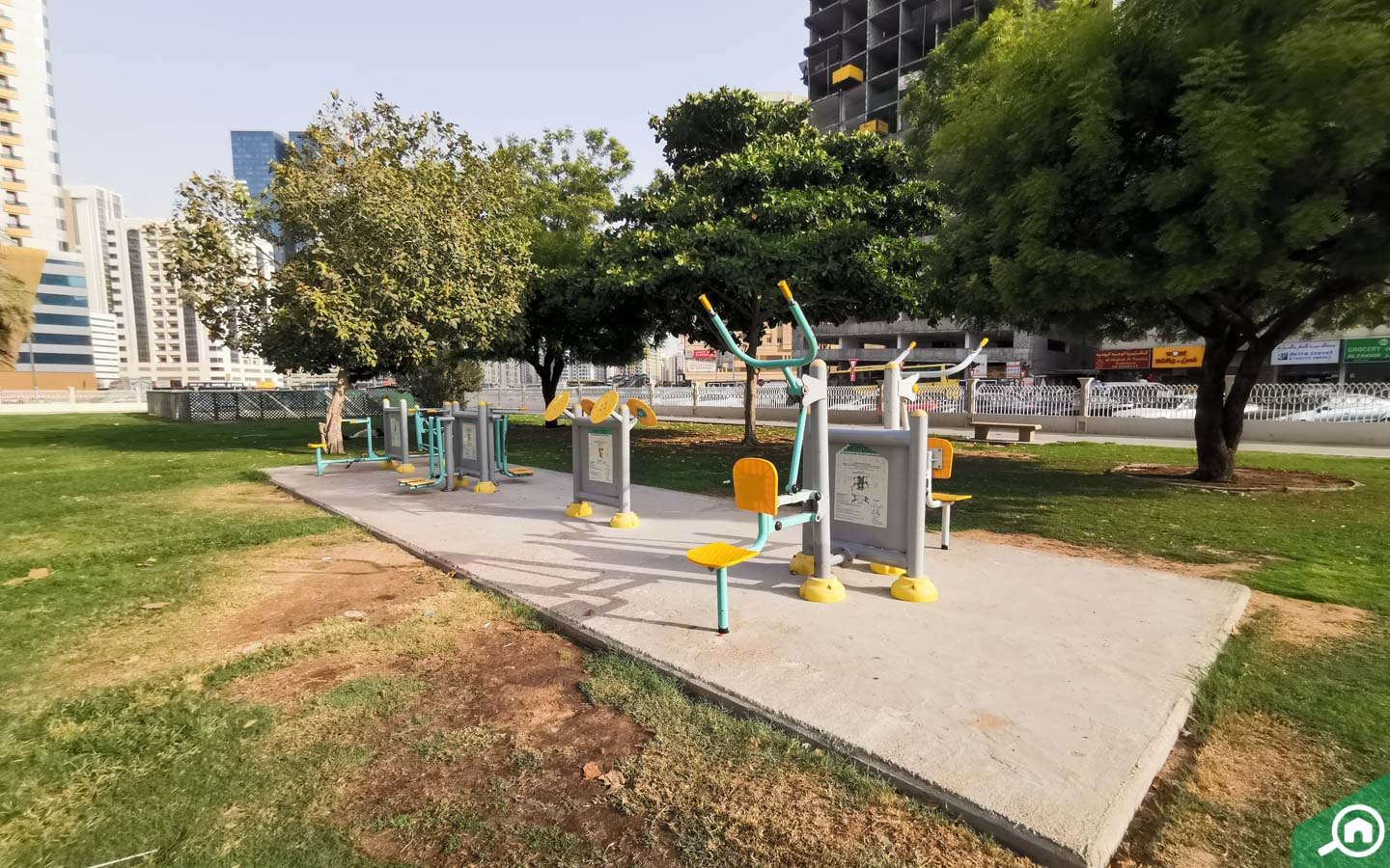 Outdoor gym stations at the Al Nahda Sharjah Park
