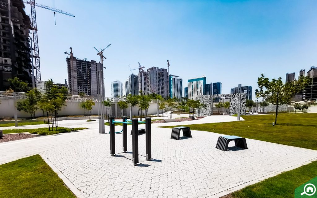 View of buildings under construction from Reem Central Park