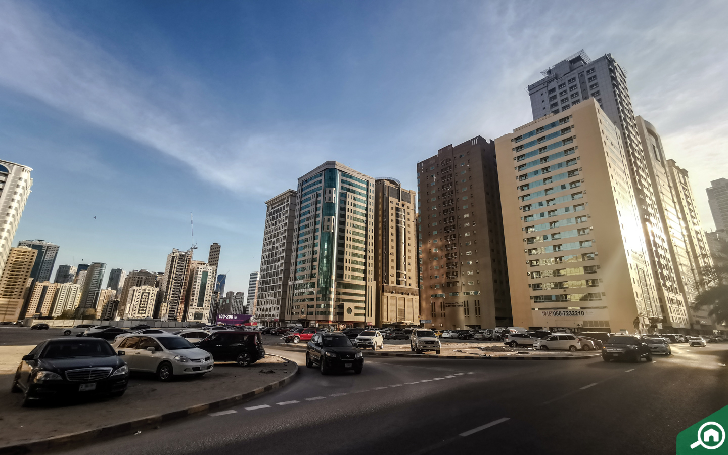 View of buildings with flats for rent in Al Taawun Sharjah