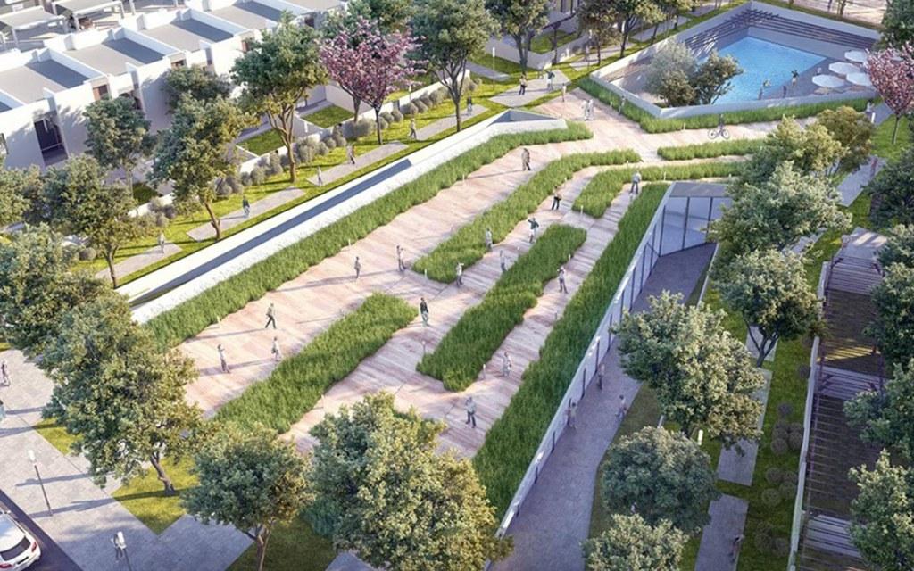 planned green belts and walkways in Aljada