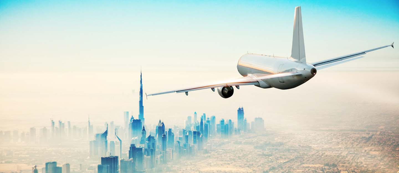plane flying to Dubai