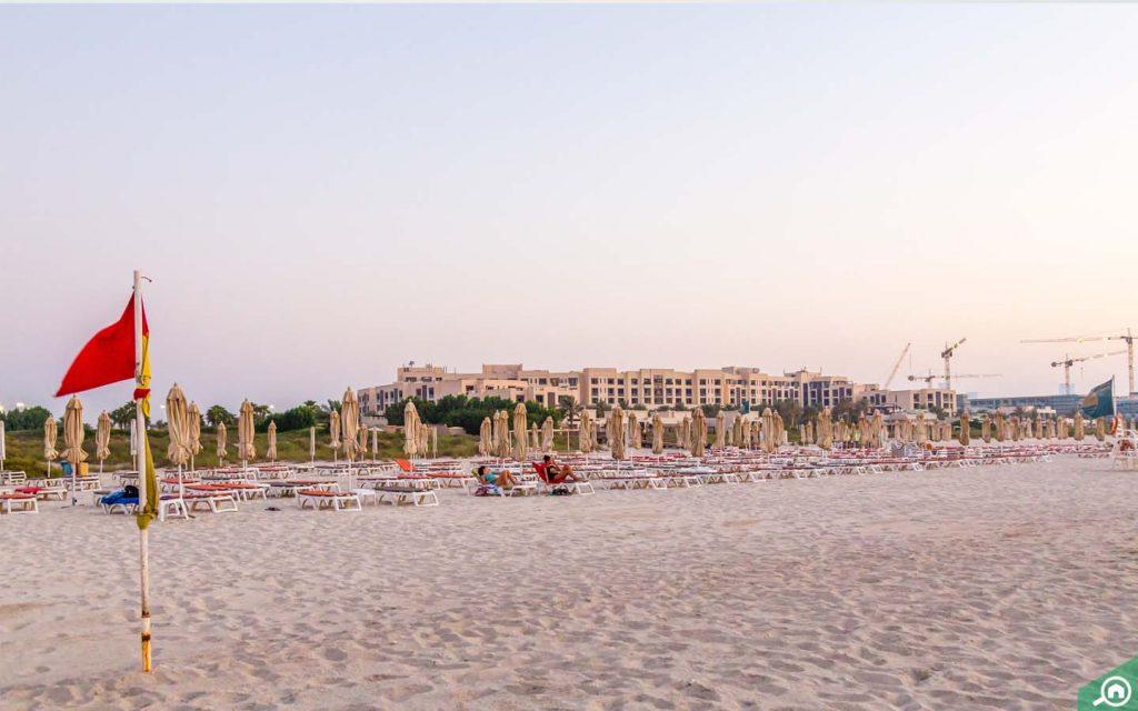 Sun loungers at Saadiyat Beach