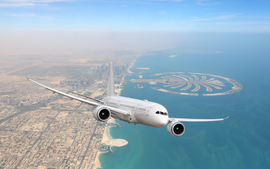 Commercial airline taking off from Dubai