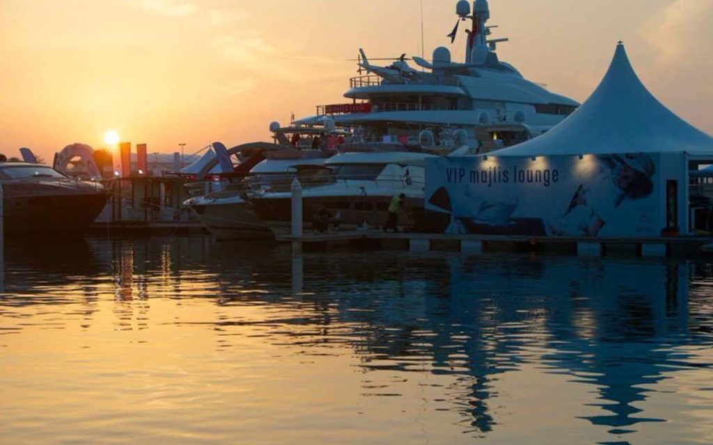 A yacht at the boat show