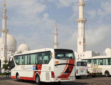 Bus parked outside Sheikh Zayed Mosque