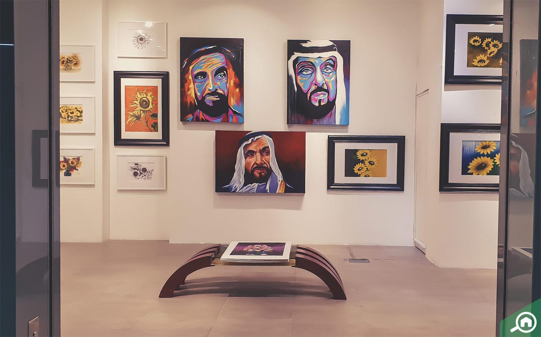 Artworks of UAE ruler inside Art Hub Abu Dhabi Art Gallery