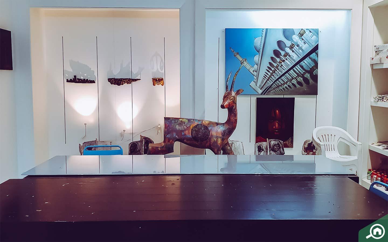 Artworks and installations inside art galleries in Abu Dhabi, Art Hub