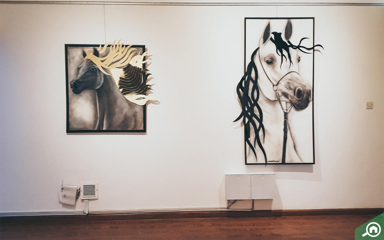 Artworks on horses in Etihad Modern Art Gallery in Abu Dhabi