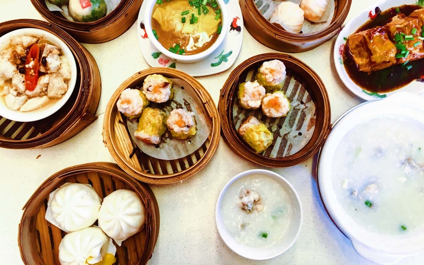 Assorted dim sum pots in Dubai